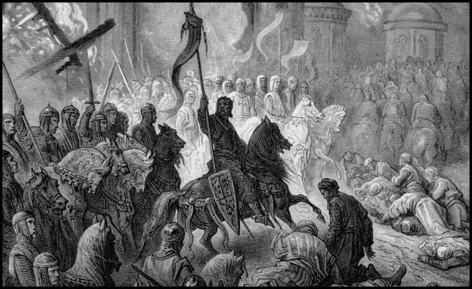 IMG03 - Arte de Gustave Doré. Aqui representando a submissão de Belghor na Guerra da Conquista.