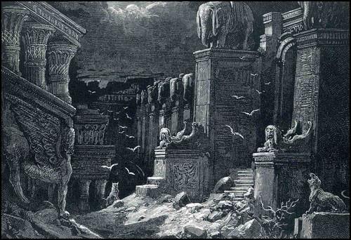 IMG06 - Arte de Gustave Doré. Aqui representando as ruínas selvagens do sul de Belghor, na fronteira com o vale Nessir.